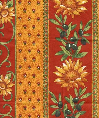 Red and gold French sunflower fabric #430