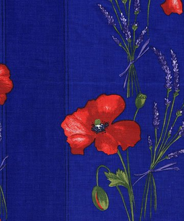 Acrylic-coated French red and blue poppy border fabric #566