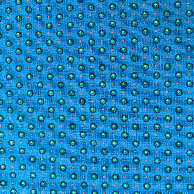 Turquoise, orange and green dots shweshwe (1300)