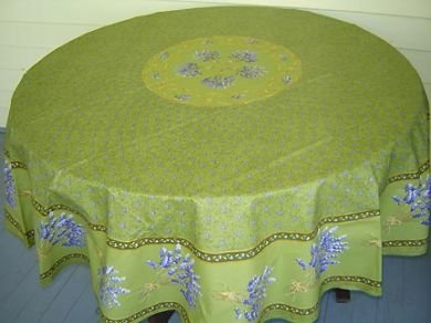 70 French Acrylic-Coated Round Tablecloth Lavender (Green)