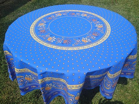 70 French Cotton Round Tablecloth Lisa (Blue)