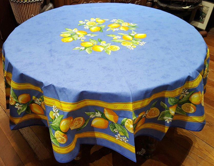 70 French Acrylic-Coated Round Tablecloth Lemon (Blue)