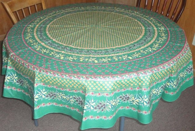70 French Cotton Round Tablecloth Olive amp Mimosa Green