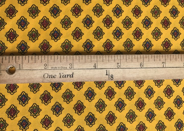 French Valdrome Diamant Fabric (yellow and red) #607