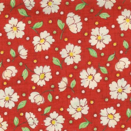Retro 30's Child Smile White flowers on Red