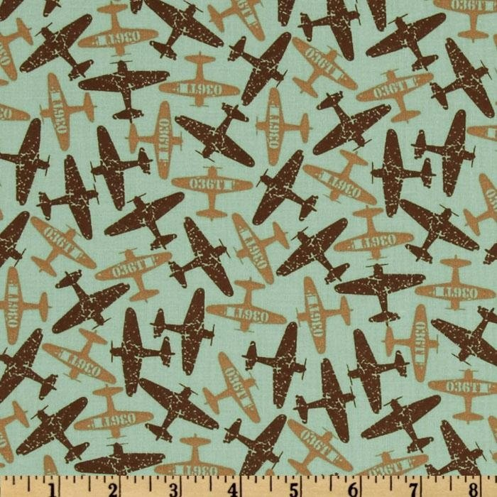 Mixed medley retro airplanes on green fabric by 100 for Airplane print cotton fabric