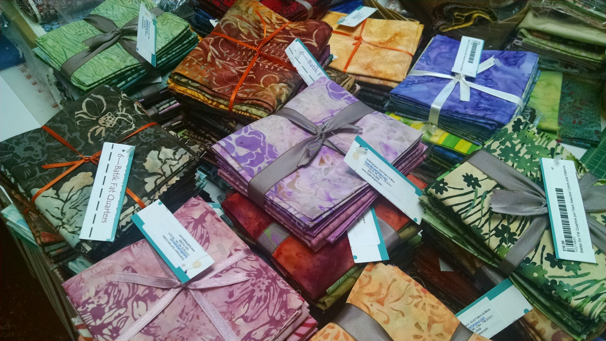 Batiks Six Fat Quarters per Pack Assorted Colors and Patterns