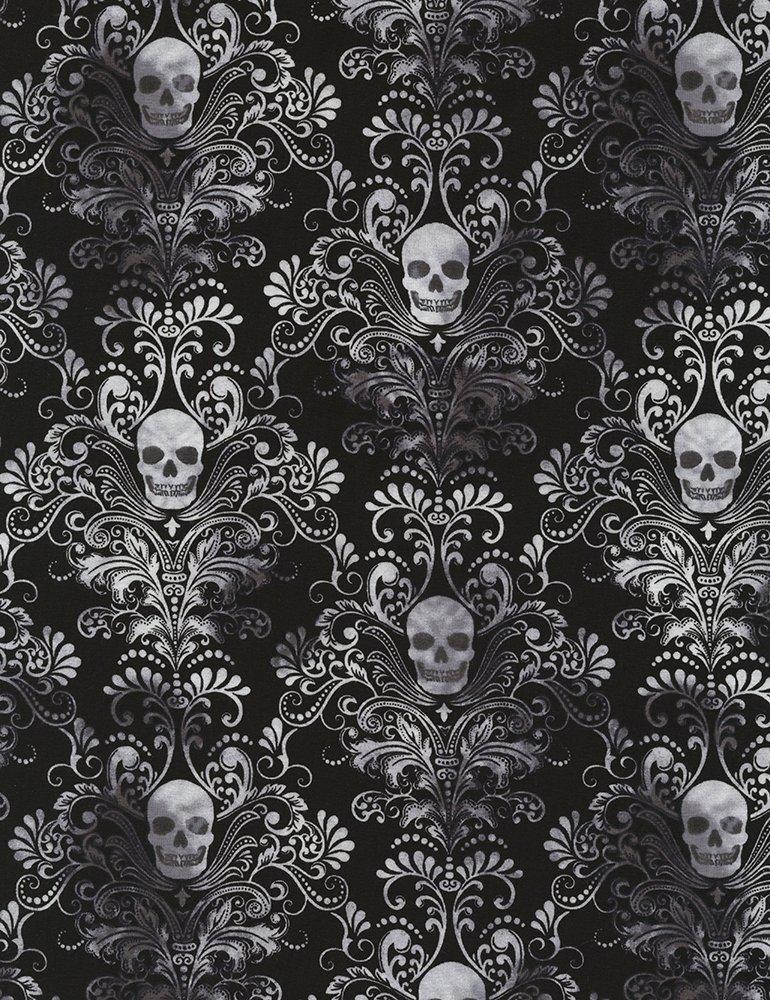 TT- Knit Black/white skull damask