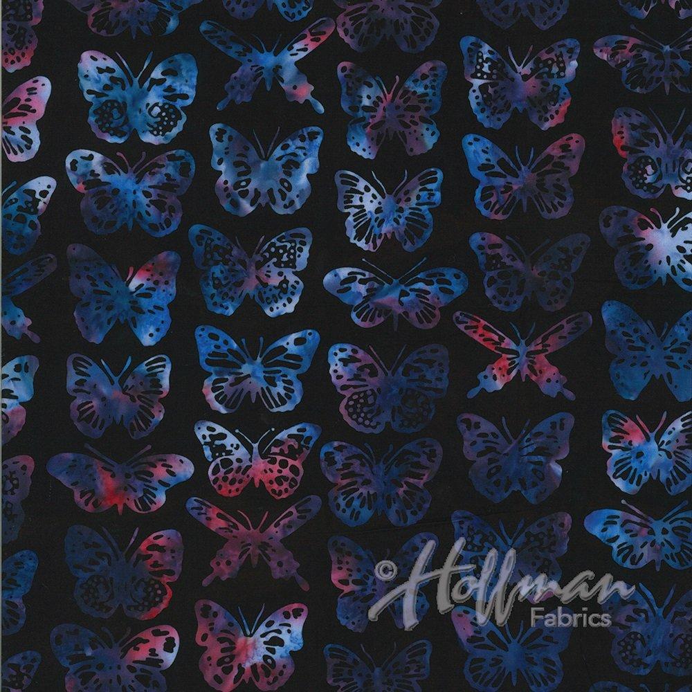 Hoffman Batik - P2001 197 Butterflies Black Grape
