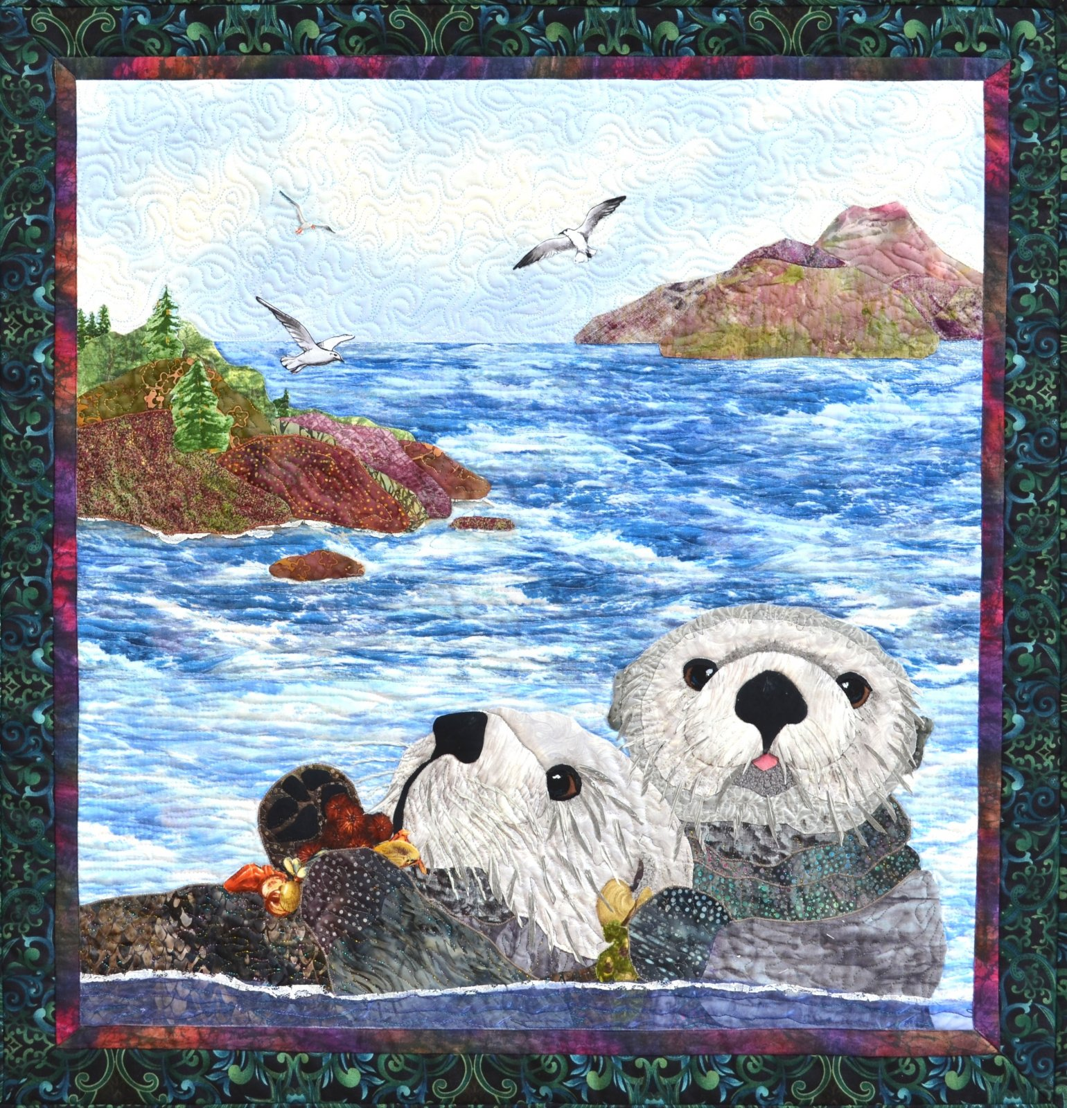 Otter Friends applique pattern