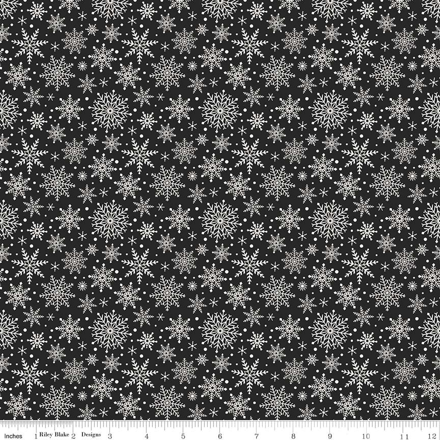 Comfort and Joy - Snowflakes Black C6265-BLACK