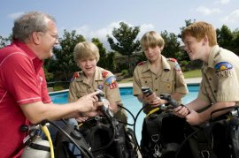 Boy Scouts Learning to Dive
