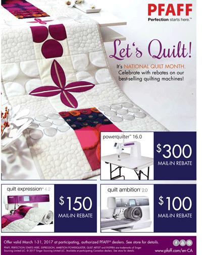 Pfaff Quilt Rebates Flyer