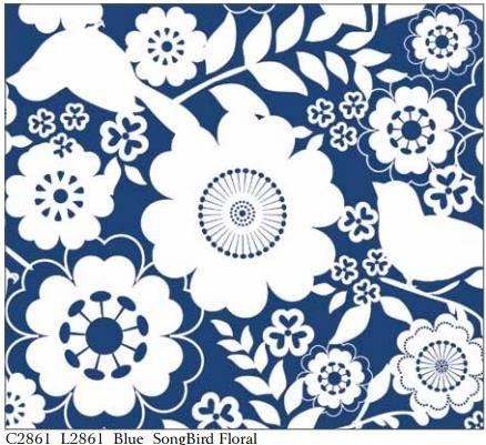 Song Bird Floral -C2861 Blue