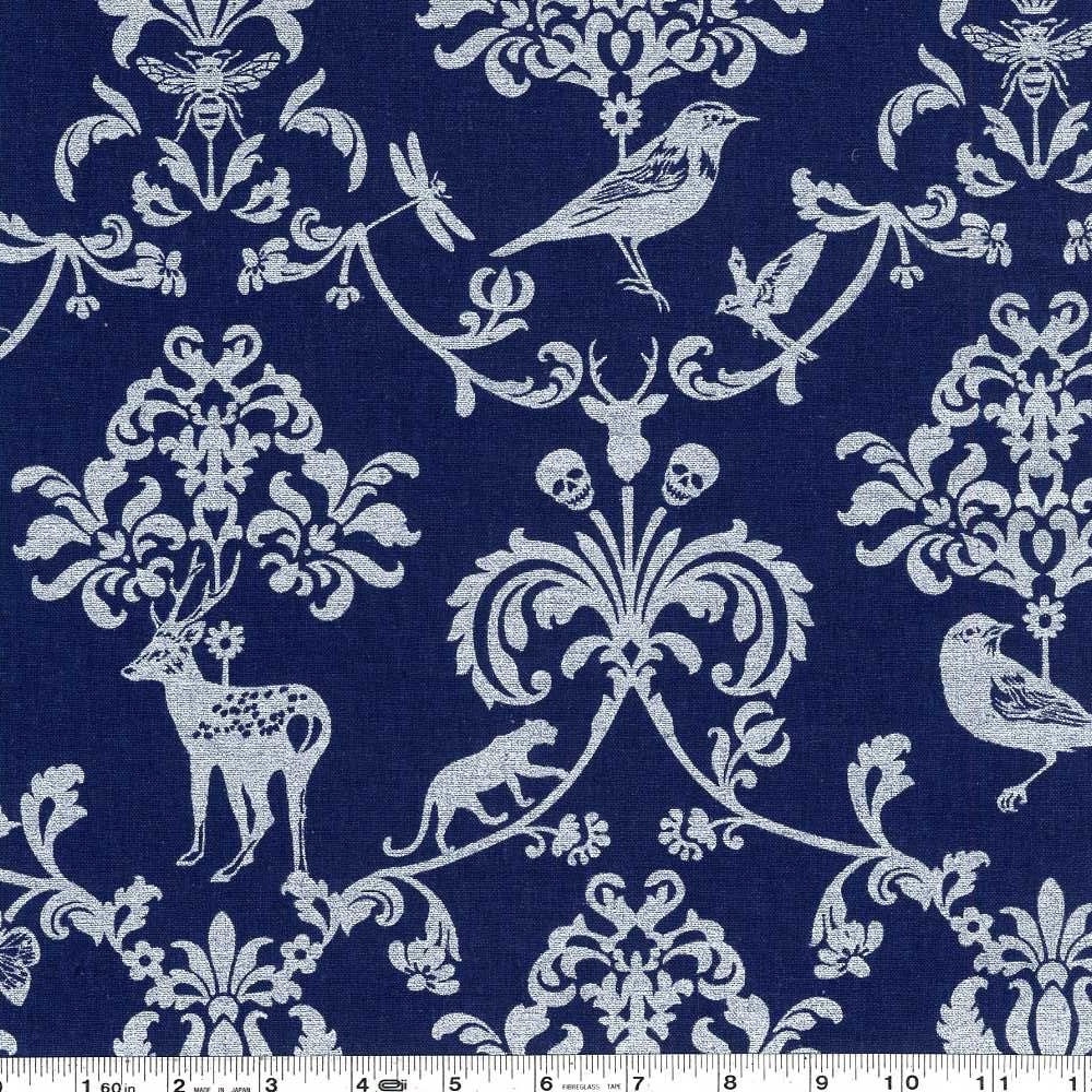 Echino - Classic Animals - Silver on Navy Blue