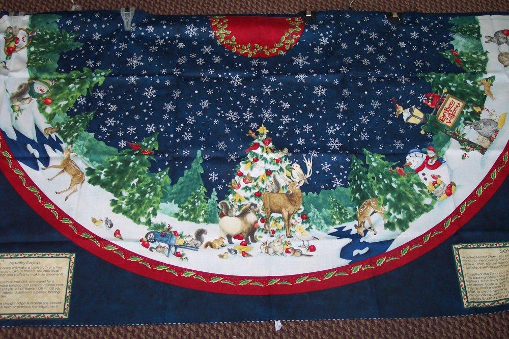 Critter Christmas Tree Skirt Panel Multi 100734  - Blue Christmas Tree Skirt