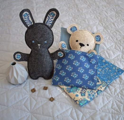 Bed Time Bunny and Bear softie by Clares Place