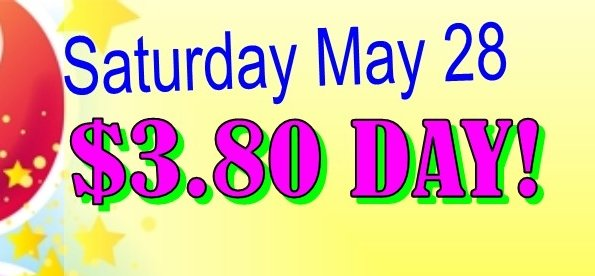 Saturday May 28 - all fabrics in Sale Cottage 3.80/yard