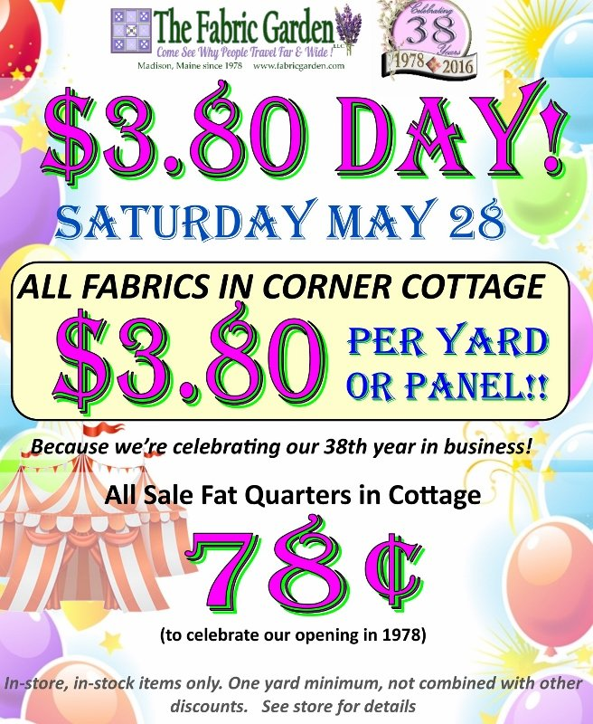 Th anniversary sale at the fabric garden