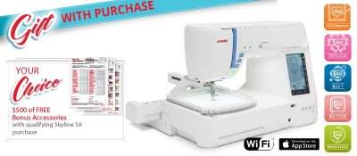 Janome Skyline S9 - get $ 500 in free accessories with purchase