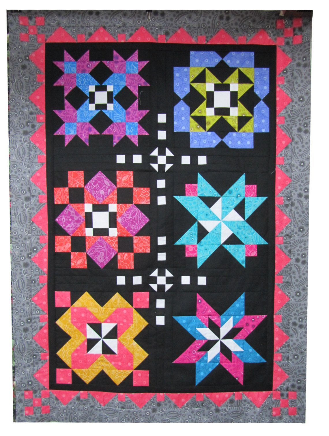 Block of the month, black background, partial sample