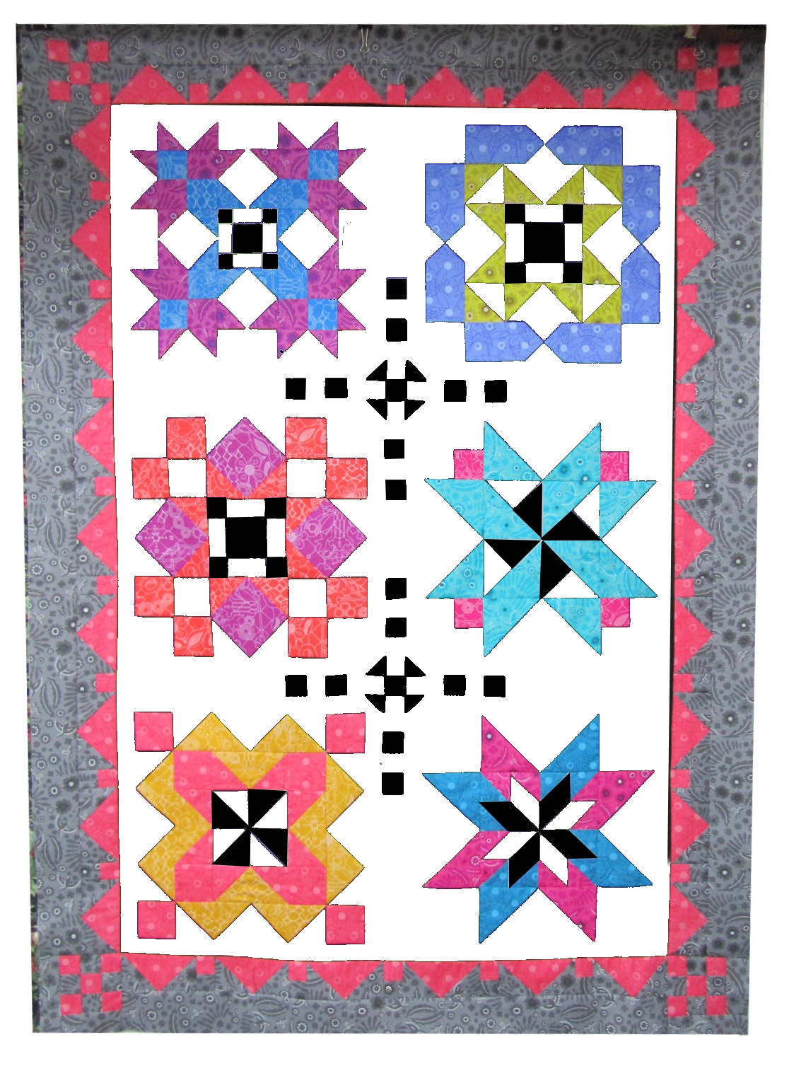 Block of the month, white background, partial sample