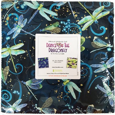 Benartex Dance of the Dragonfly - 10 inch square - 42 pieces