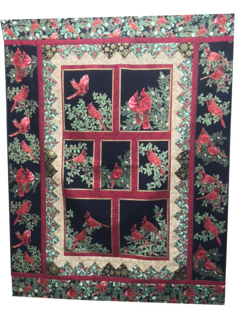 Festive Cardinals Quilt Kit featuring A Festive Season Fabrics by Jackie Robinson for Benartex