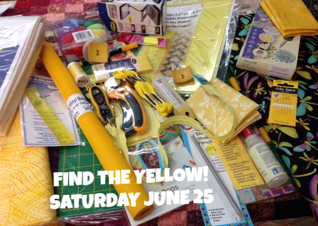 Find The Yellow at The Fabric Garden Saturday June 25!