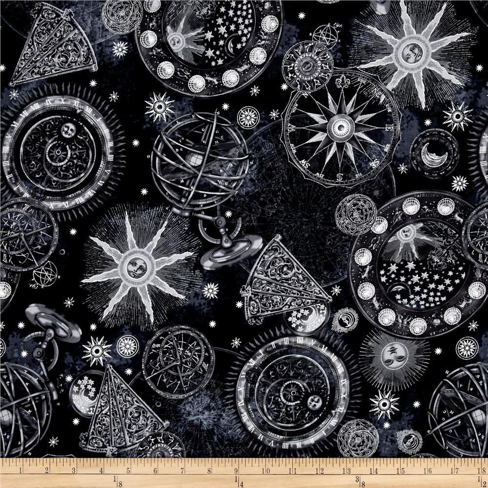 Star gazing celestial metallic fabrics for Celestial pattern fabric