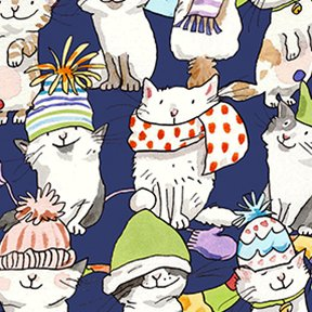Knittens by Anita Jeram for Clothworks  Y2085-93 Kittens in Hats and Scarves