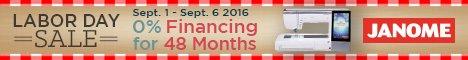 Janome Machine Labor Day Financing Special!
