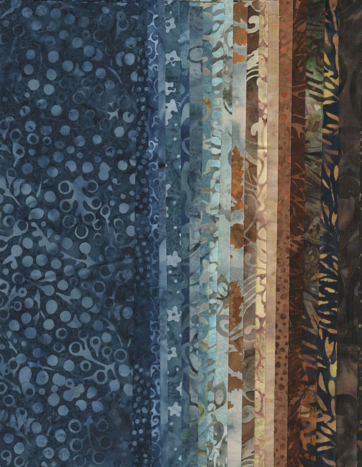Hoffman Bali Batiks  - 20 cuts of 10 squares - Blue &  Brown Batiks
