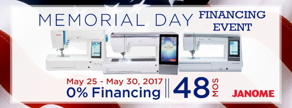 Janome Memorial Day Financing at The Fabric Garden.  Longarm machine, quilting machine, sewing machines & more