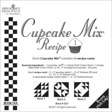 Cupcake Mix Recipe #1 CC1| 44 Sheets - Make Quilt Blocks Using Your 5 Fabric Squares