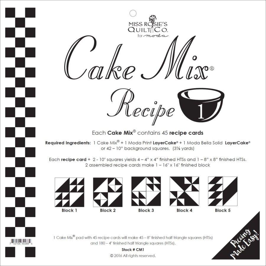 Cake Mix Recipe #1  CM1    44 Sheets - Make Quilt Blocks Using Your 10 Fabric Squares