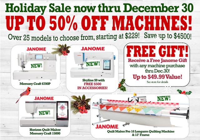 Fabric Garden holiday machine sale now thru December 30.  Free gift with machine purchase