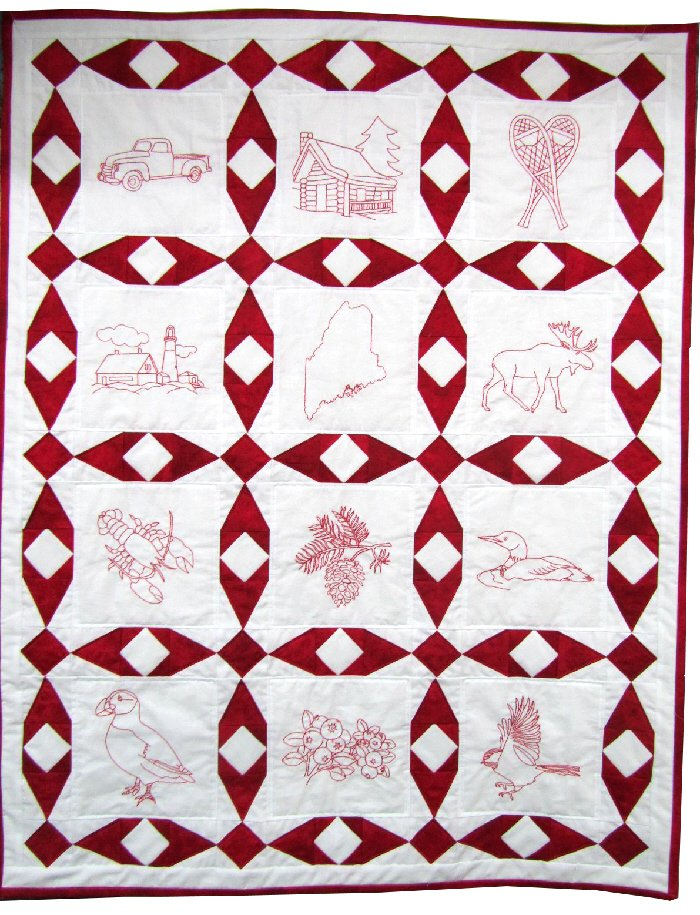 Ruby Red Quilt Pattern with 12 Maine-themed Line Drawings for Hand Embroidery