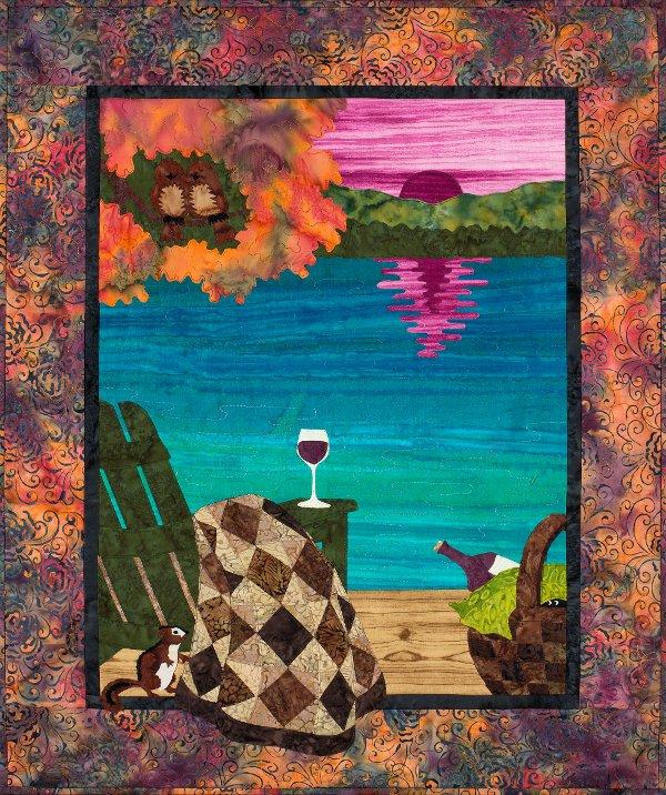 Sunset Lake - Wine at Sunset Wall Hanging Pattern by Sue Pritt