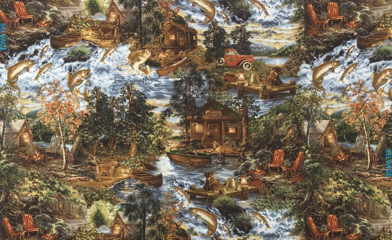 Timeless Treasures Fishing Trip Dona-CF3873-Forest Flannel