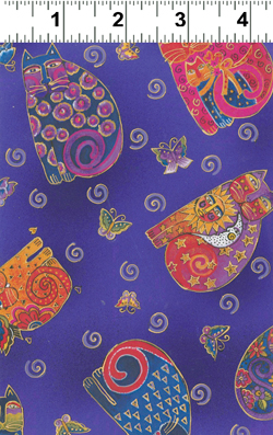 FABULOUS FELINES PURPLE  MED CATS FABRIC