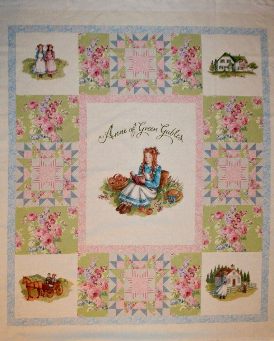 Anne of Green Gables Cream Patchwork Cheater Digitally Printed Quilt Panel