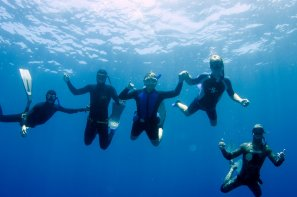 freediving class group picture underwater