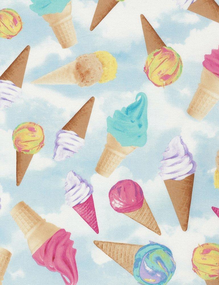 Tossed Ice Cream Cones- Sky- Timeless Treasures