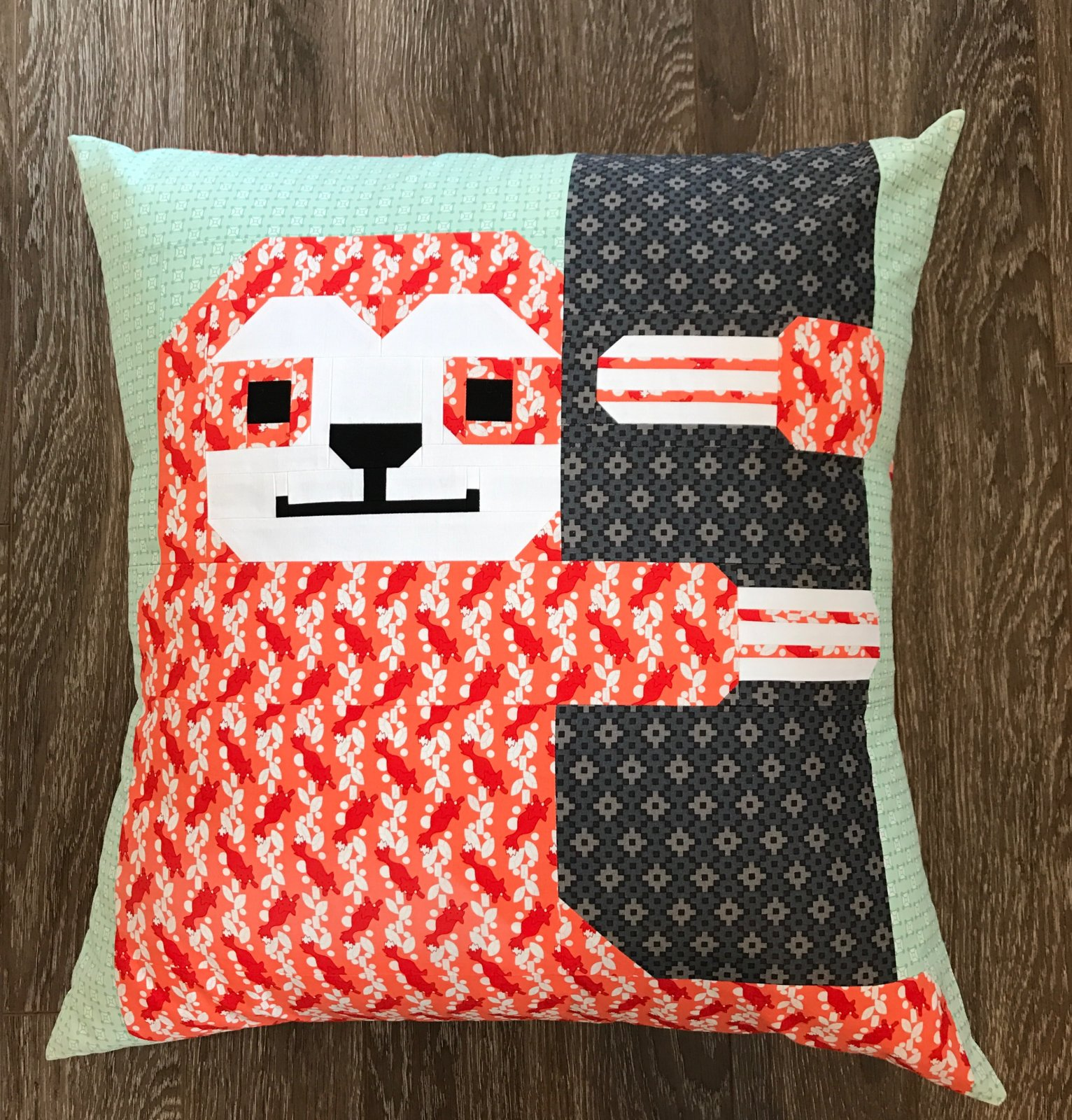 Sleepy Sloth Coral Pillow Kit- Elizabeth Hartman Fabrics