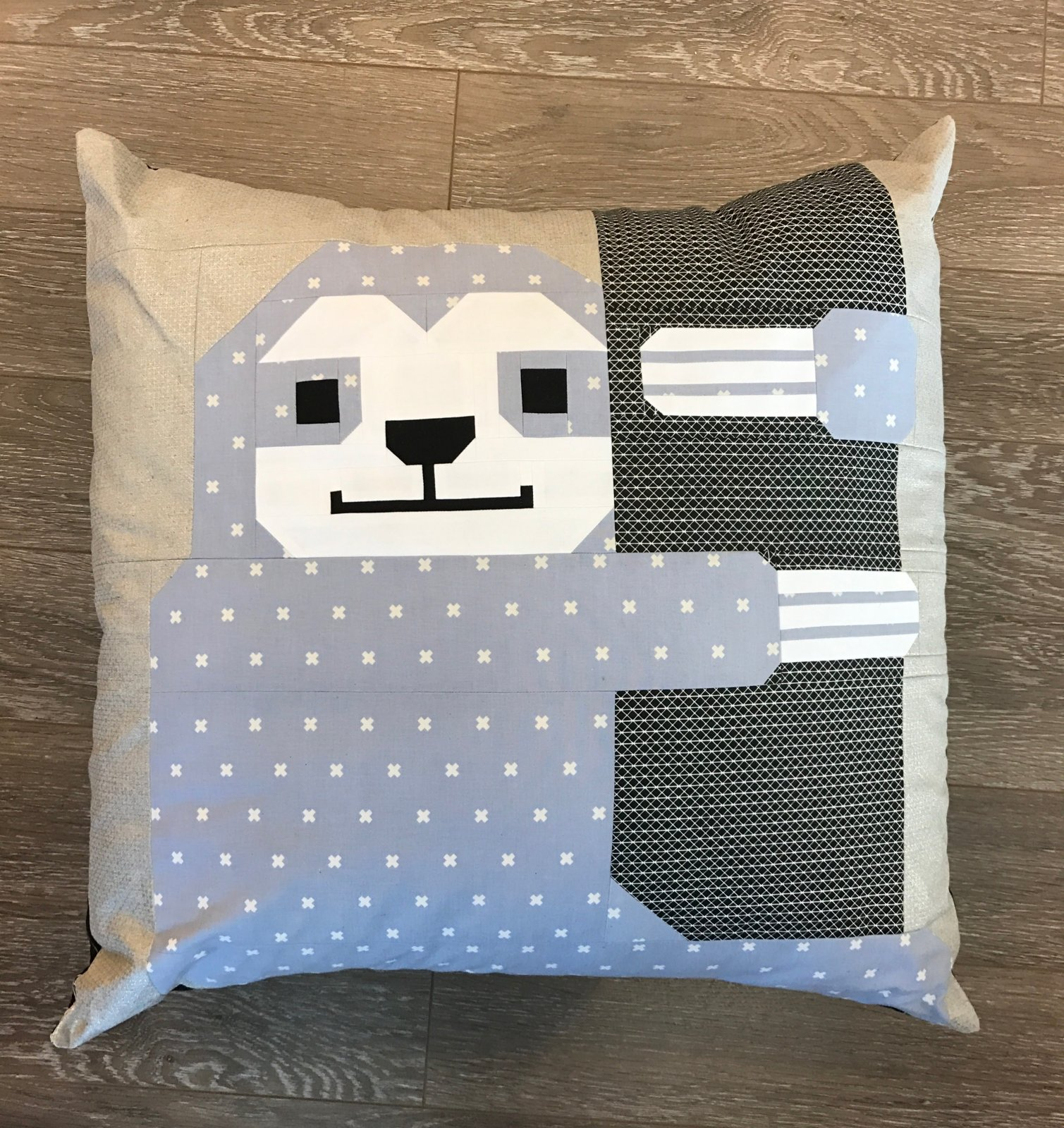 Sleepy Sloth Blue Pillow Kit- Elizabeth Hartman Fabrics