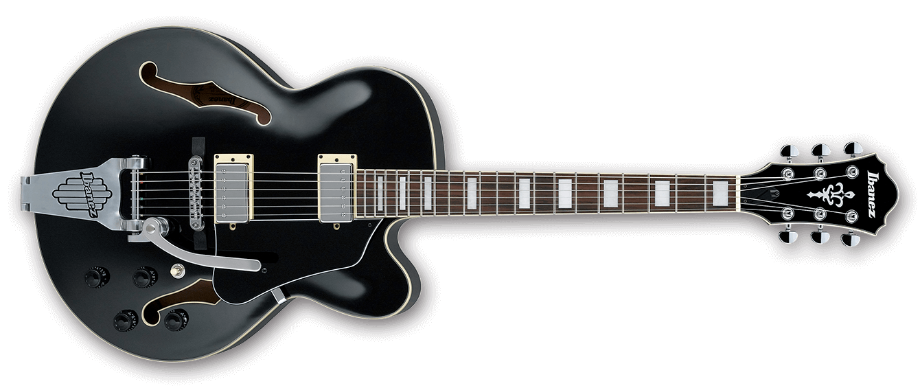 Ibanez AF75T Artcore Hollowbody Electric Guitar with Bigsby Style Tremolo, Black