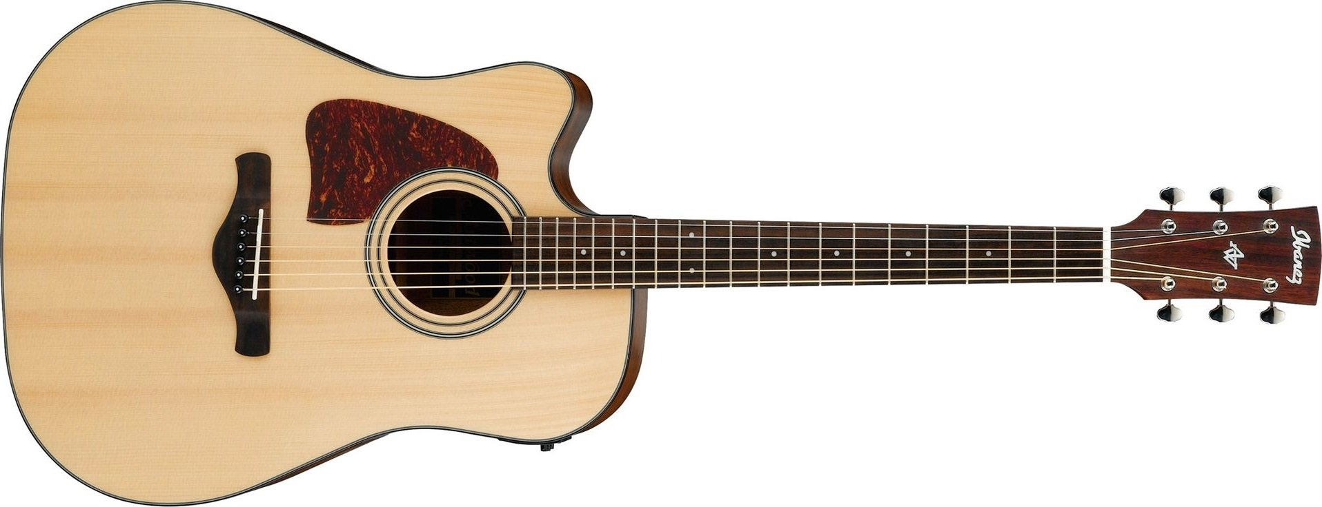 Ibanez AW400CE Artwood Solid Top Cutaway Dreadnought Acoustic Electric Guitar, Natural