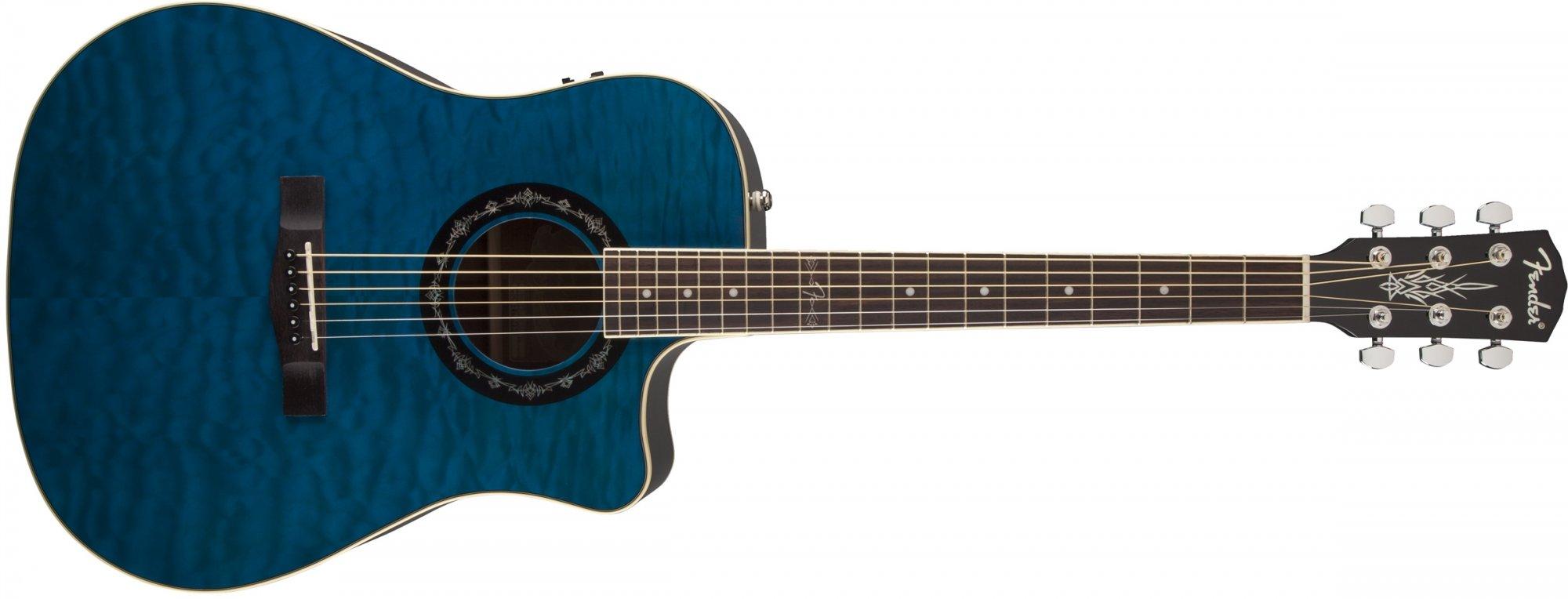 fender t bucket 300ce acoustic electric guitar transparent blue 885978276936. Black Bedroom Furniture Sets. Home Design Ideas