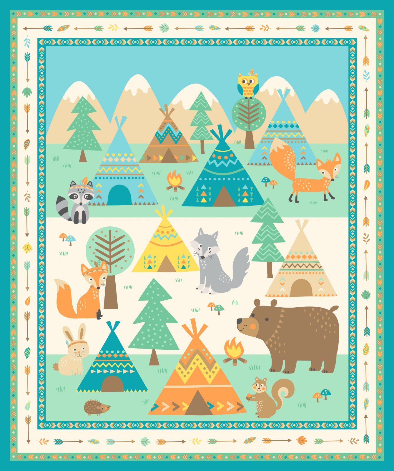 Teepee time panel f31349 63 for Children s fabric panels